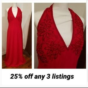Elegant embroidered & beaded red long gown tank
